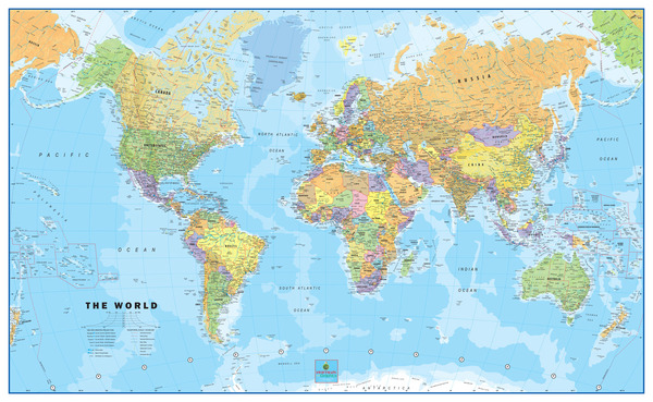 World mural wall map wallpaper physical edition for Classic world map wall mural