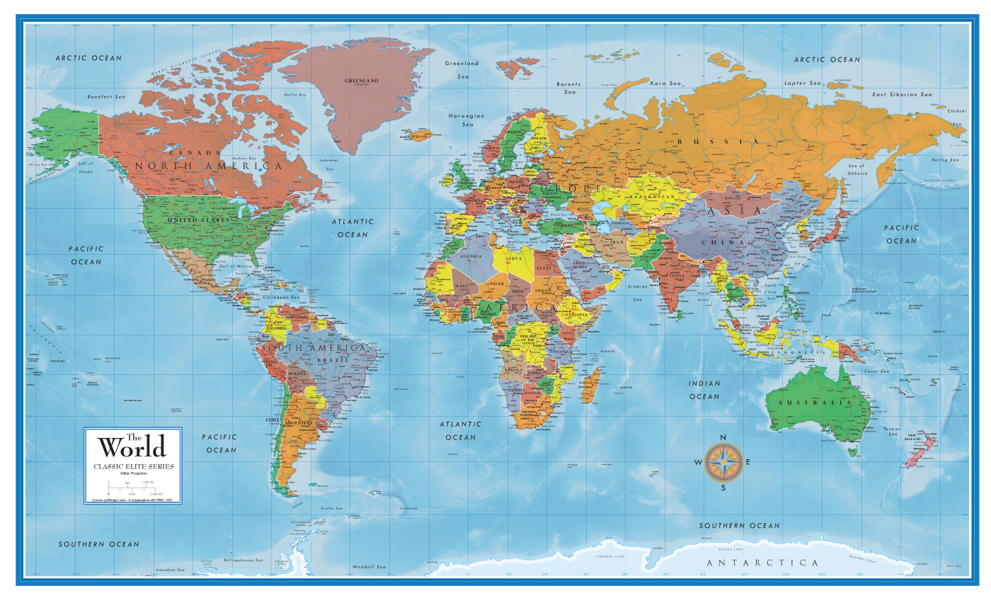 Classic Premier 3d World Wall Map Poster Mural