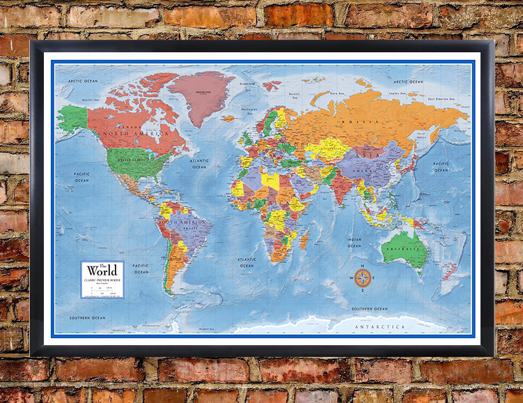 Classic premier 3d world wall map poster mural for Classic world map wall mural