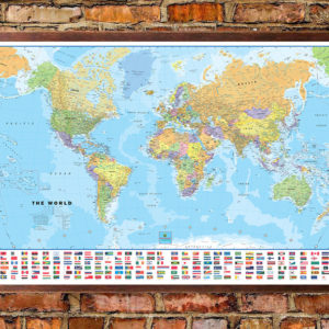World classic wall map with flags mural poster for Classic world map wall mural