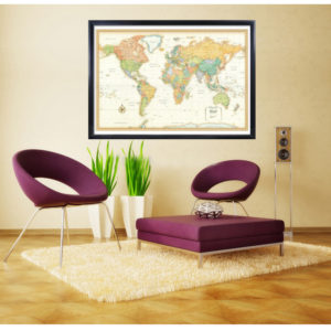 Rand Mcnally World Classic Framed On Wall