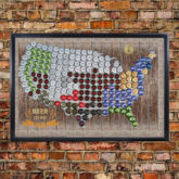 usa beer cap map on brick wall final revise