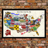 usa craft beer map on brick wall