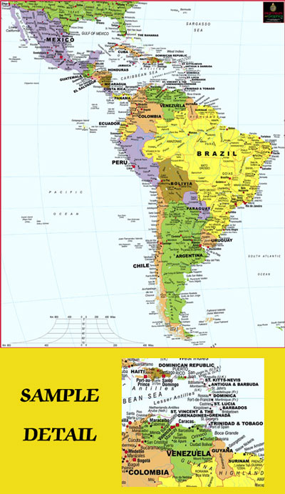 South and Central America Deluxe Wall Map - SWIFTMAPS.com on haiti map, mexico map, italy map, australia map, india map, belize map, panama map, croatia map, africa map, uruguay map, morocco map, asia map, ecuador map, western hemisphere map, europe map, middle east map, zimbabwe map, spain map, costa rica map, argentina map,