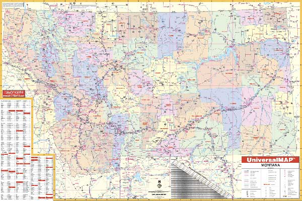 Montana State Wall Map Executive Commercial Edition