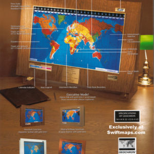 Geochron Original Kilburg World Time Clock Day Night LED Map