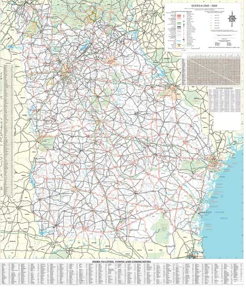 Georgia Wall Map Executive Commercial Edition - Laminated state wall maps
