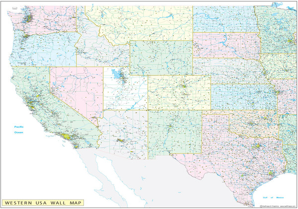 Western United States Executive City County Wall Map