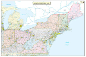 Northeastern United States Executive City County Wall Map
