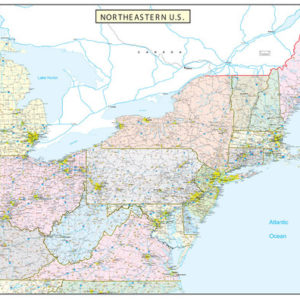 Northeastern United States Executive City County Wall Map - Northeastern usa map