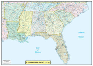 Southeastern United States Executive City County Wall Map