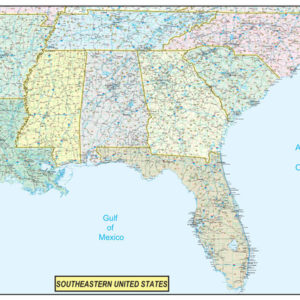 Southeastern United States Executive City County Wall Map.jpg