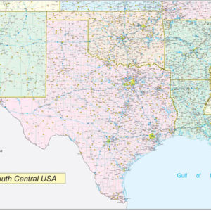 Southcentral United States Executive City County Wall Map.jpg