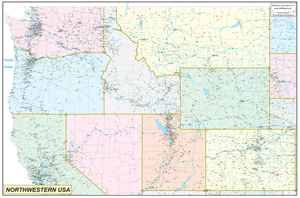 Northwestern United States Executive City County Wall Map - Northwestern us map
