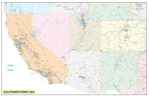 Southwest United States Executive City County Wall Map - Southwestern usa map