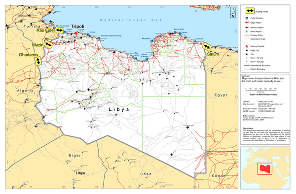 Libya transportation wall map mural poster p 8530 libya tranport mapg gumiabroncs Image collections
