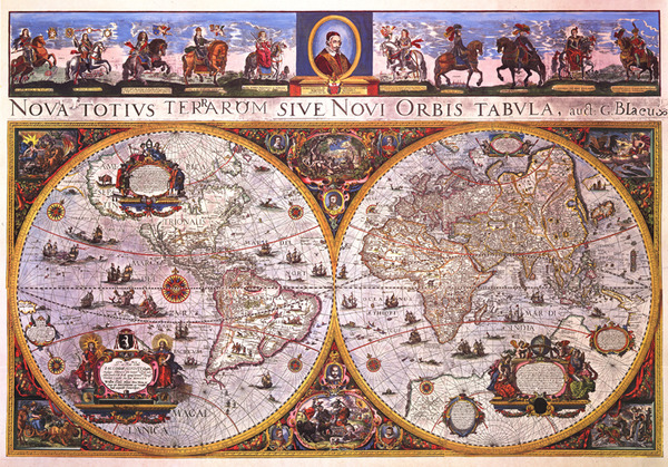 2436 Bleau World Wall Map From 1665 Reproduction