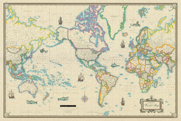 World Wall Map Modern Day As Antique