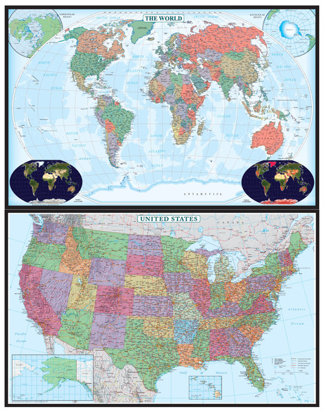 50x70 World and United States Combo Educational Wall Map