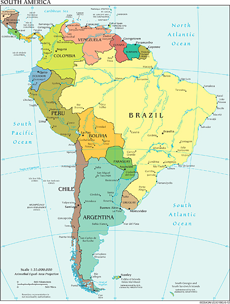 Map Of America Political.South America Wall Map Political Series