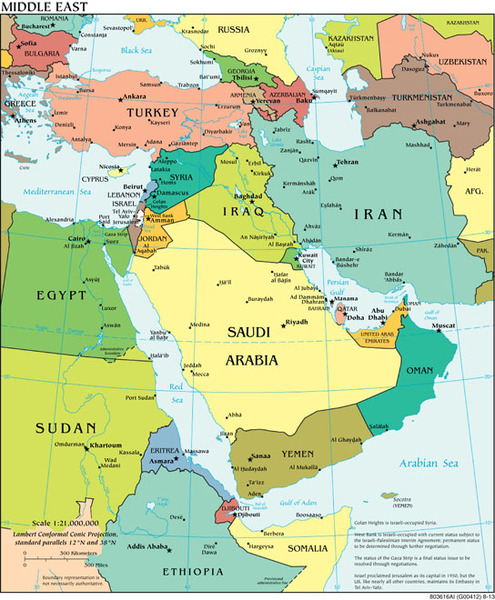 Middle East Area Political Wall Map