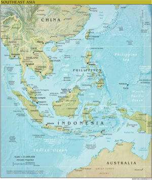 South East Asia Regional Wall Map GeoPhysical Series