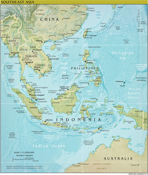 South East Asia RegionalGeoPhysical Wall Map