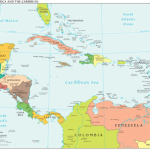Caribbean and Central America Regional Wall Map Political Series on map of america food, map of america baby, map of america please,