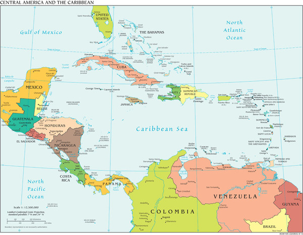 Caribbean and Central America Regional Wall Map Political Series