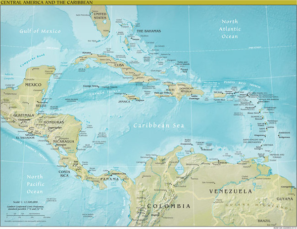 Cenral America Map.Caribbean And Central America Regional Wall Map Geophysical Series