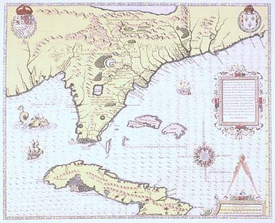 1564 Florida-Cuba-Bahamas Antique Map Reproduction