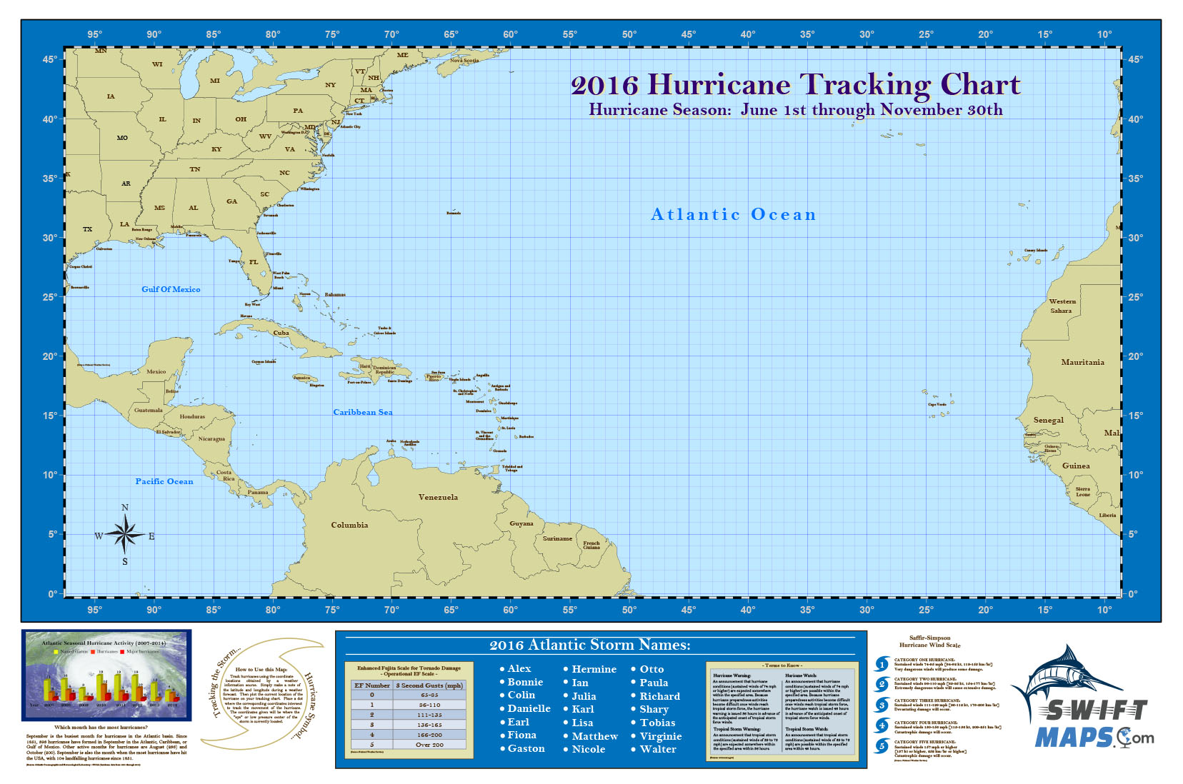 2016 swiftmaps official atlantic basin hurricane tracking chart. Black Bedroom Furniture Sets. Home Design Ideas