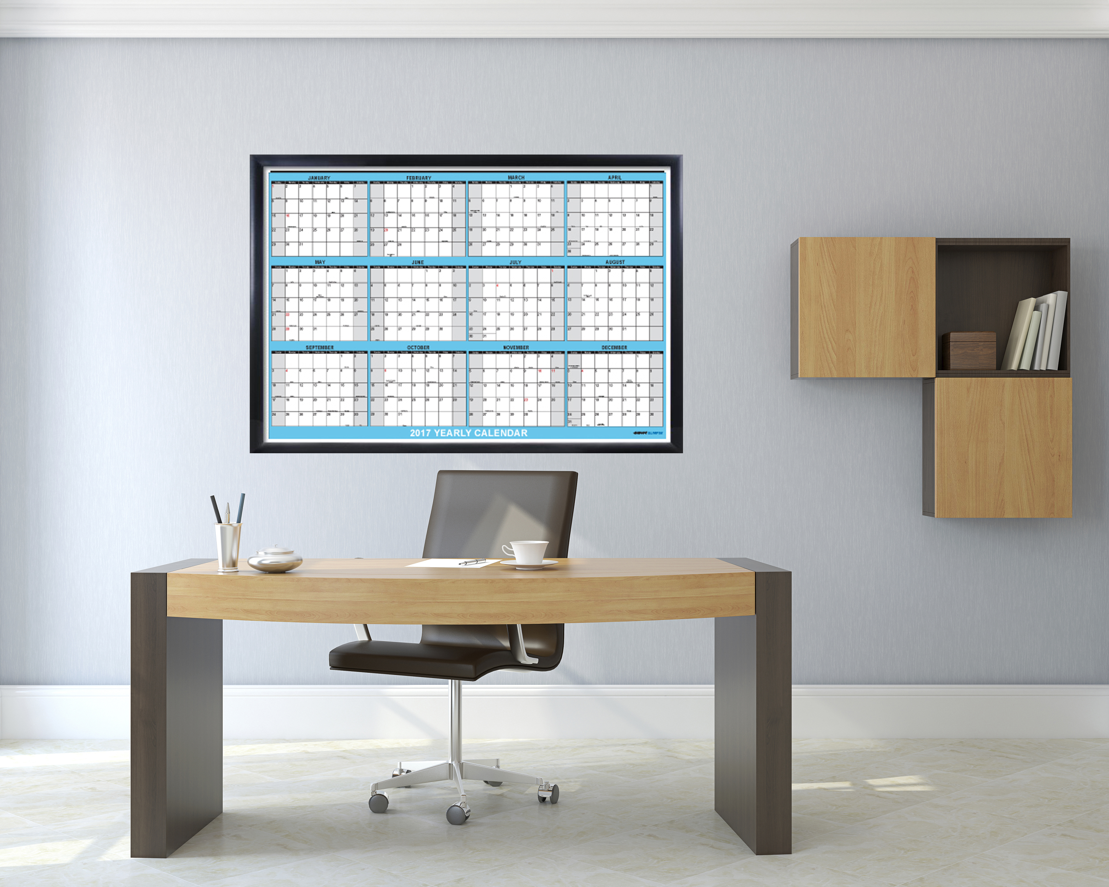 Office Calendar Wall : Yearly wall calendar month horizontal planning at
