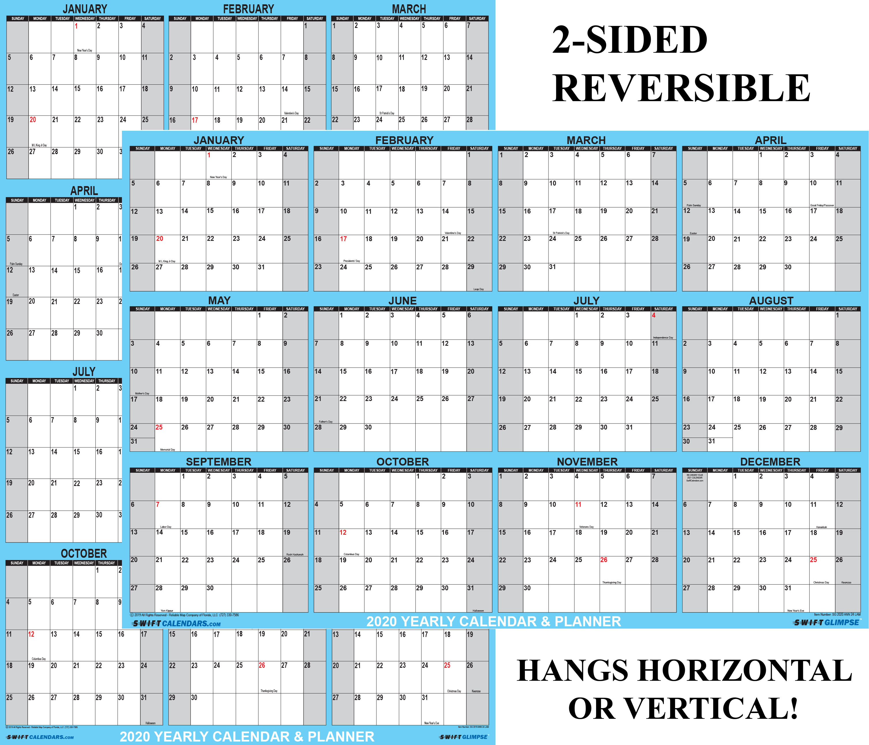 """Large Reusable Dry Erase Wall Calendar 24/""""X36/"""" Undated Monthly Planner For Hom"""