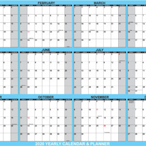 2019 SG Yearly Planning Calendar Horizontal