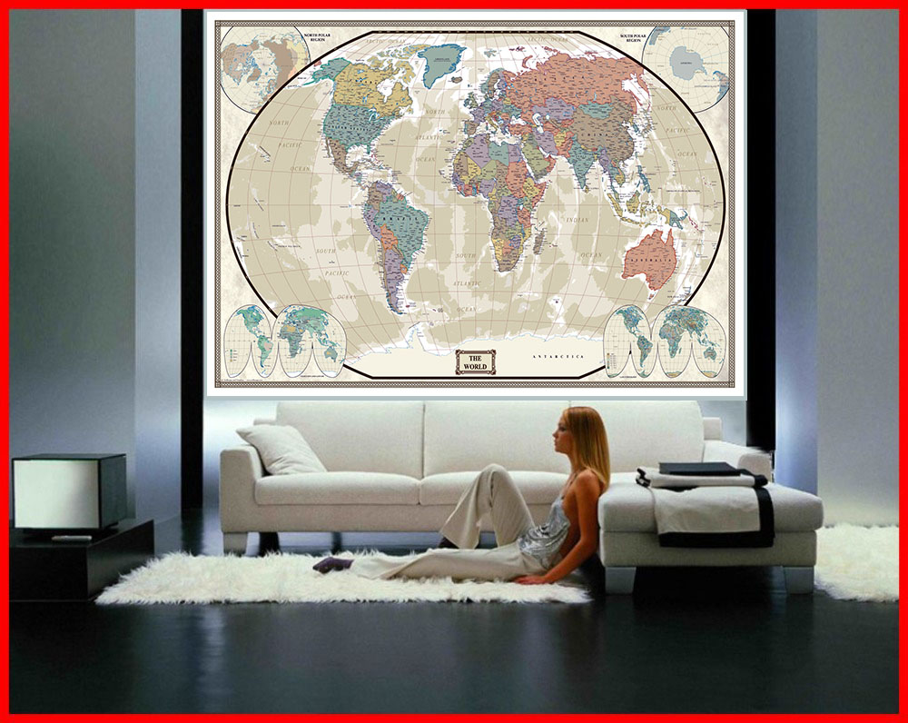 Swiftmaps World Modern Day Antique Wall Map Mural 76x120