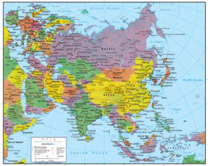 Map Of Asia Jpg.Asia Wall Map Geopolitical Deluxe Edition