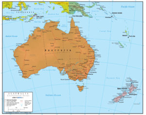 Full Map Of Australia.Australia Wall Map Geopolitical Deluxe Edition