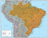 Brazil GeoPolitical Wall Map Reference Poster Map