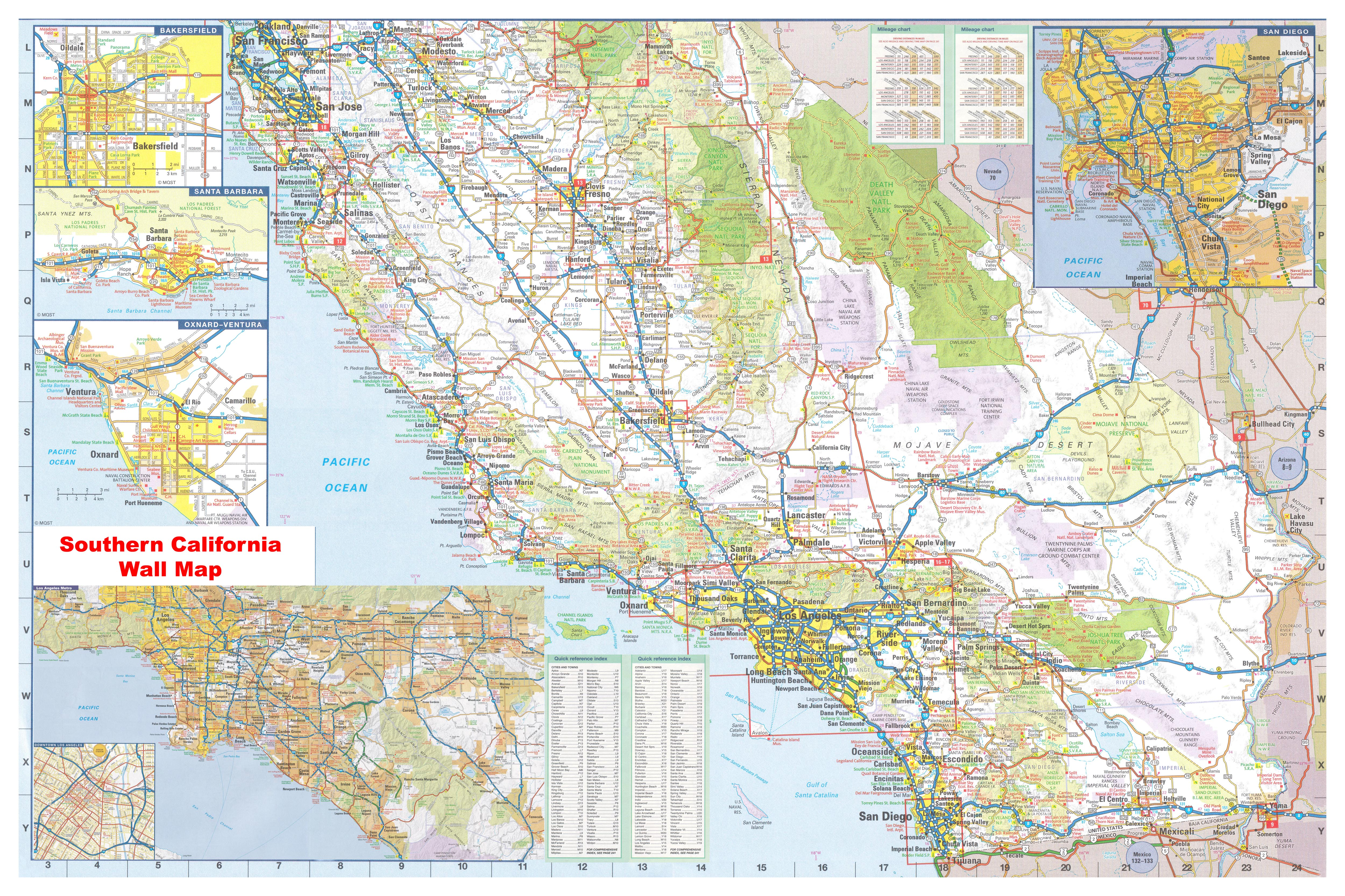 California Southern Wall Map Executive Commercial Edition - Southern ca map