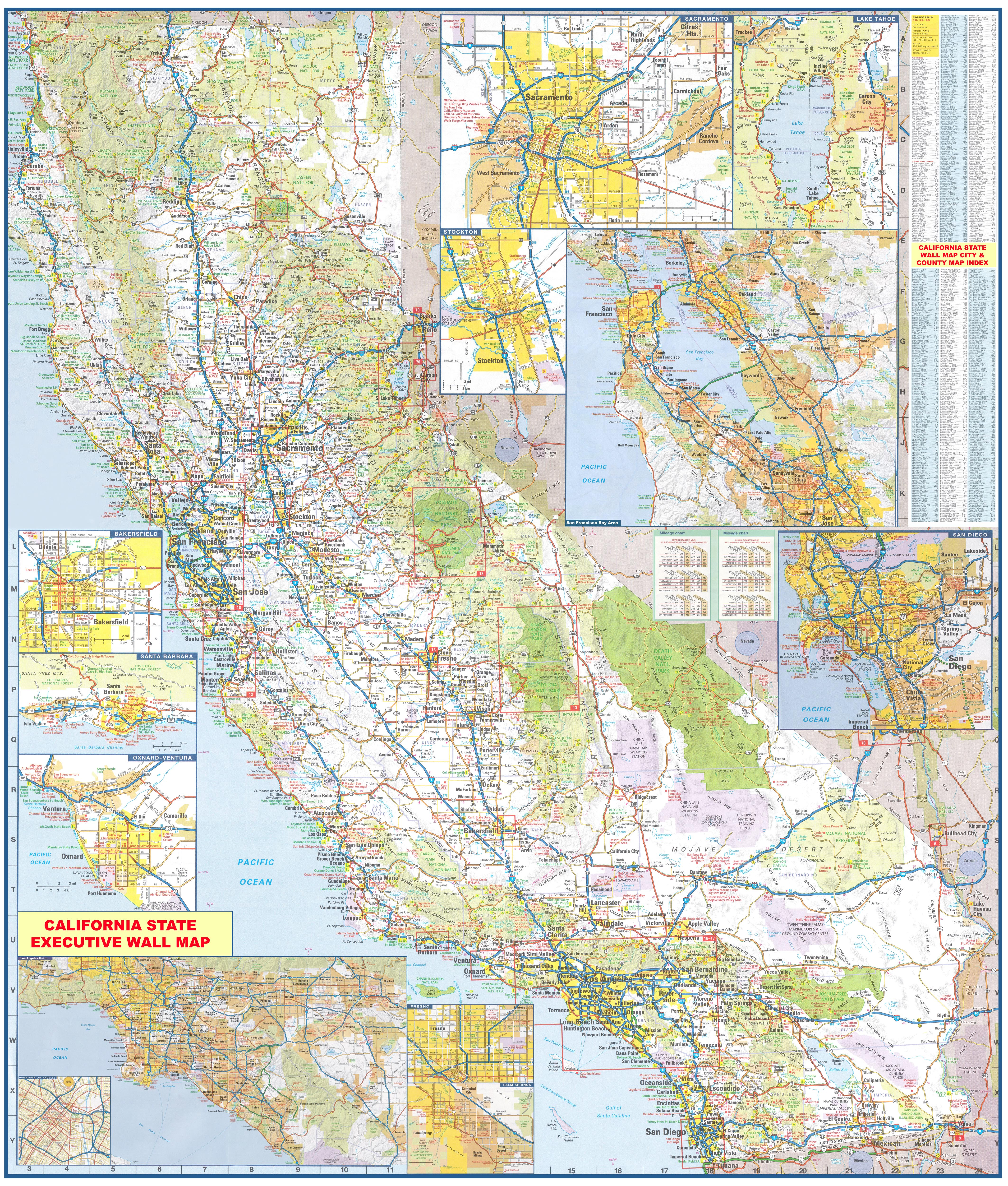 California Wall Map Executive Commercial Edition on