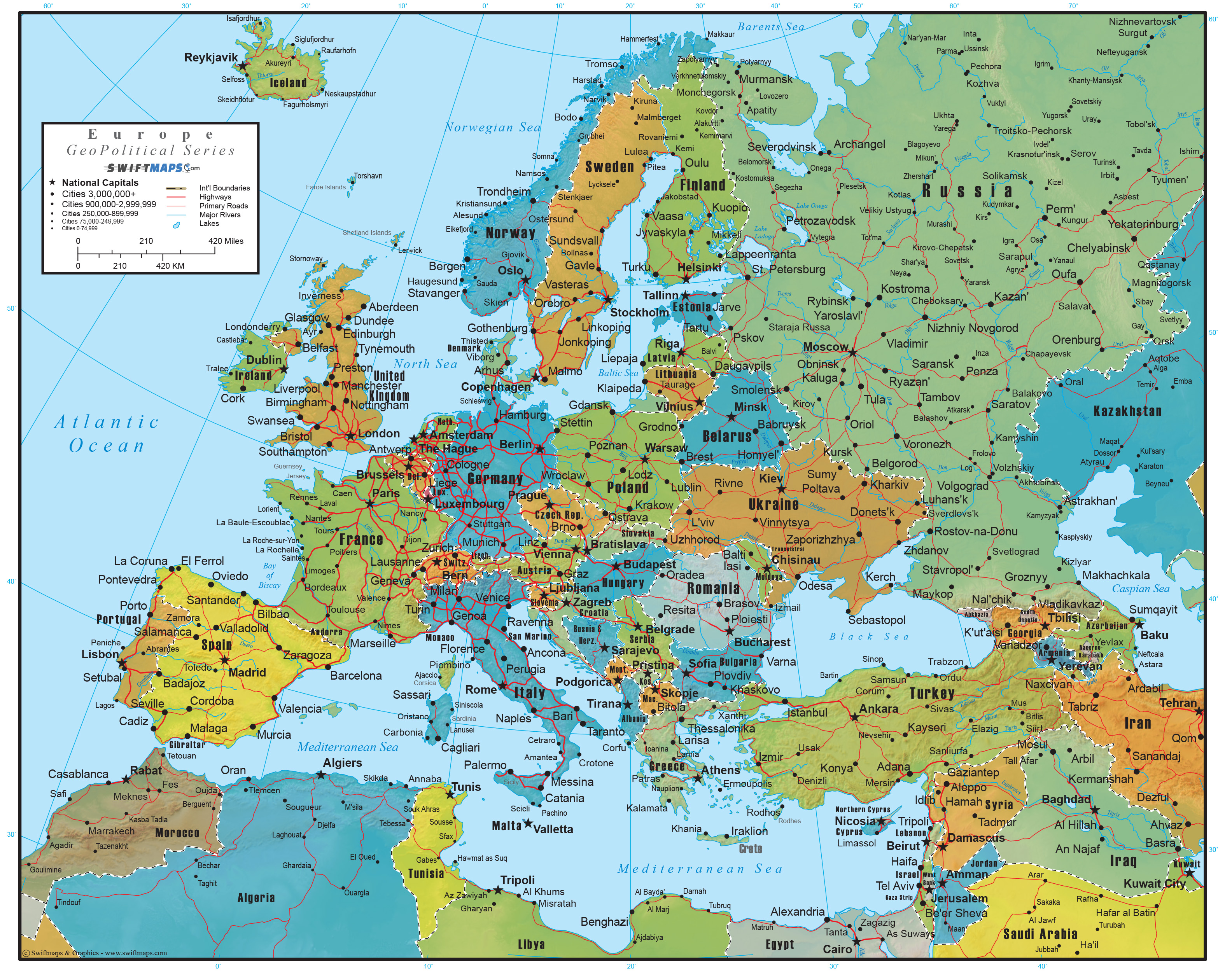 europe wall map geopolitical deluxe edition