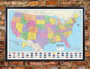 Hammond United States Map Mural Poster