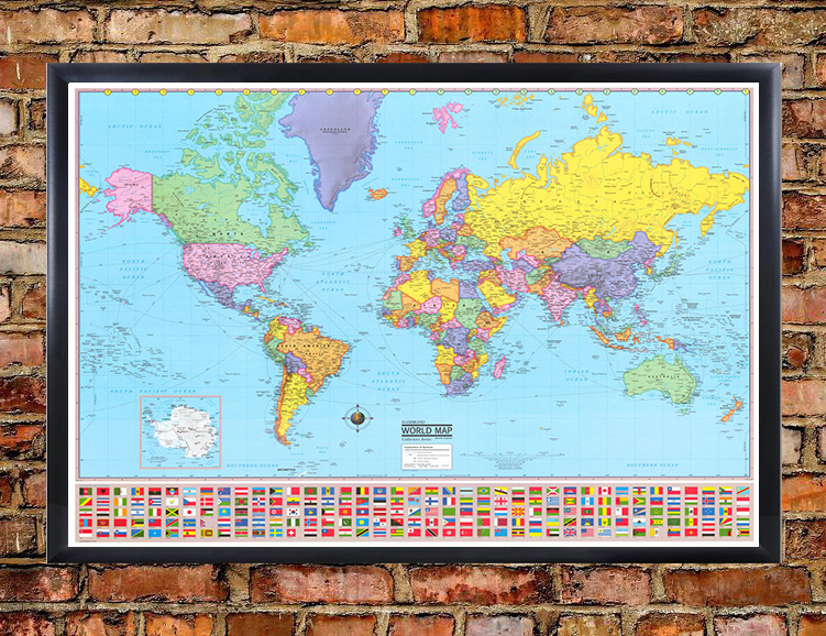Hammond world wall map mural poster 36x48 inches hammond world wall map in spanish mapa mapas del mundo gumiabroncs Choice Image