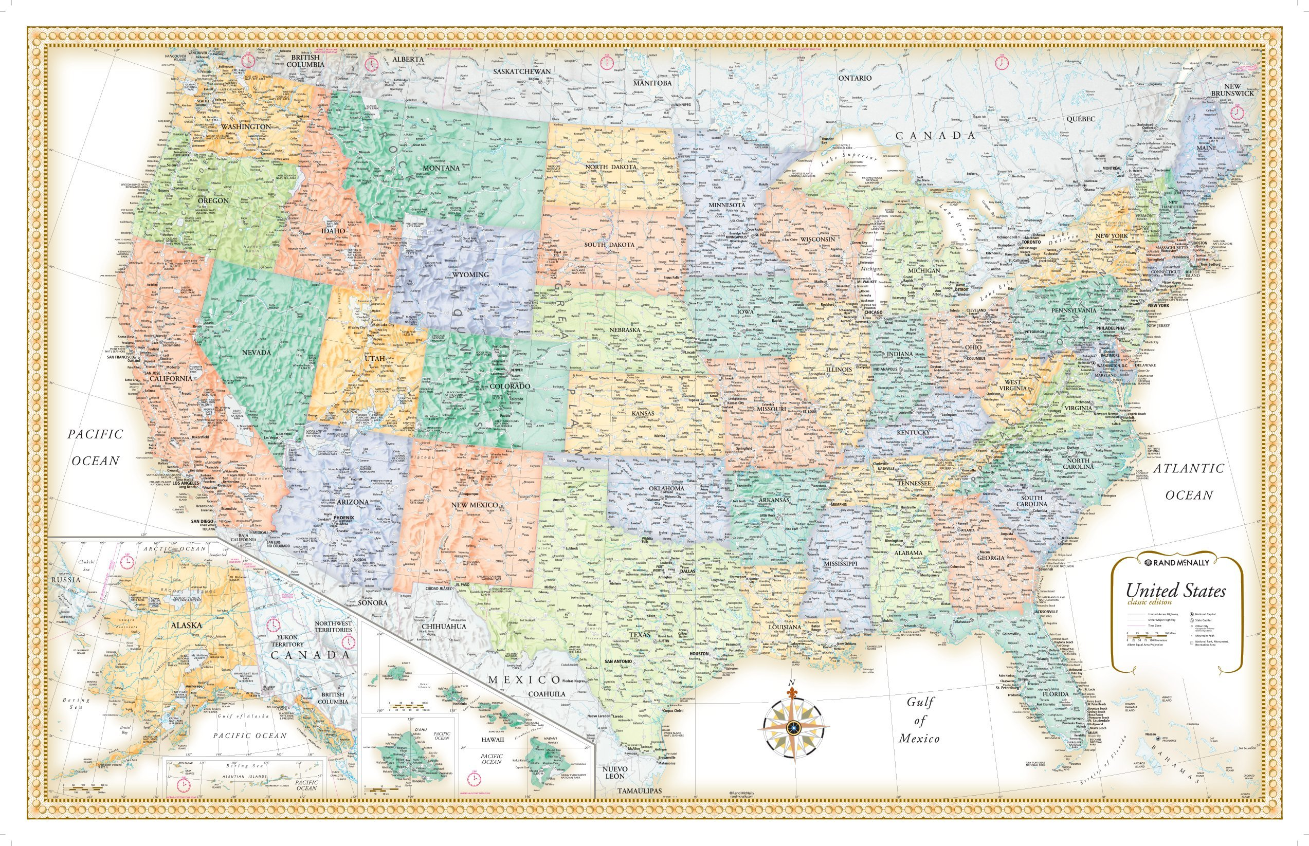 Map Of The United States Map Of The United States.Rmc Classic Edition World Wall Map Poster