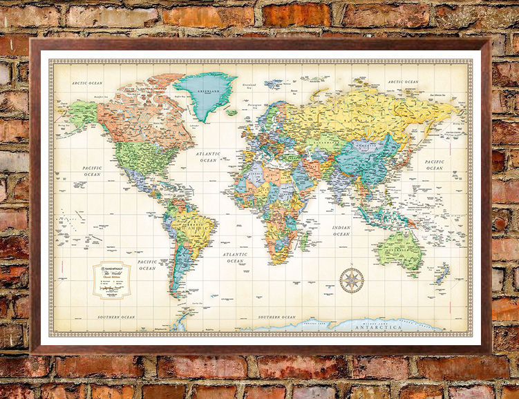 Rand mcnally classic edition world wall map poster rand mcnally classic edition world map poster gumiabroncs Images