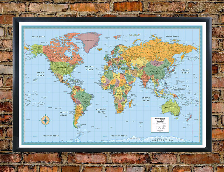 Rand mcnally deluxe signature world map wall poster rmc signature world map wall poster gumiabroncs Image collections