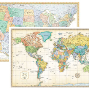 Map Of The World In Detail.Rmc Classic United States Usa And World Wall Map Set