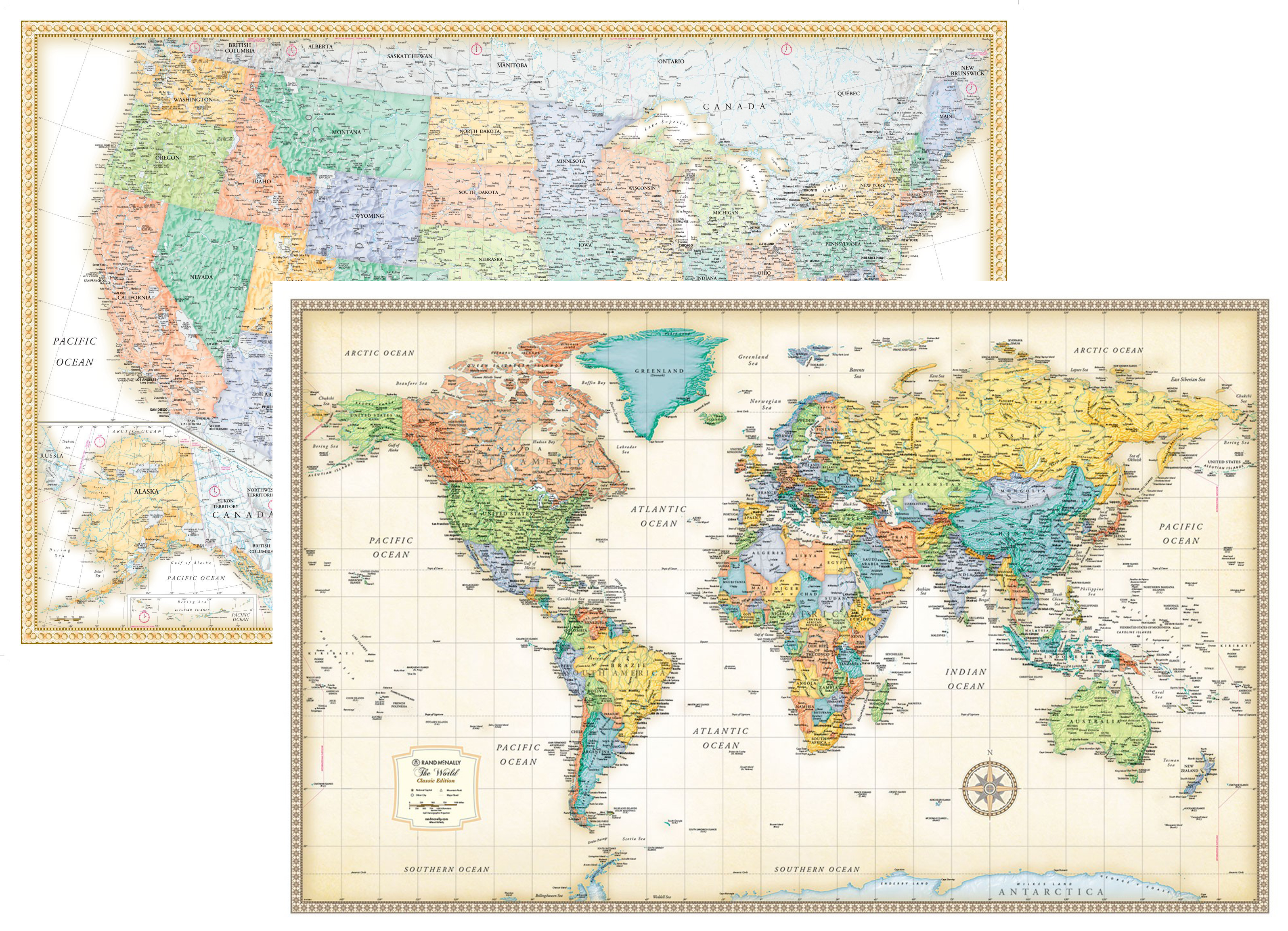 rmc classic world and usa map wall poster set