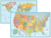 RMC Signature World and USA Map Wall Poster Set